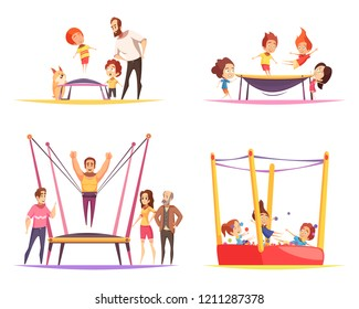 Jumping trampolines design concept with flat cartoon human characters of trampolining adult people family and children vector illustration