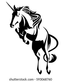 jumping unicorn  - mythical horse black and white vector design