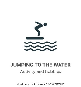 Jumping to the water vector icon on white background. Flat vector jumping to the water icon symbol sign from modern activity and hobbies collection for mobile concept and web apps design.