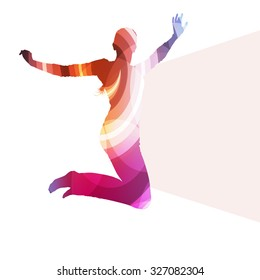 Jumping woman silhouette illustration vector background colorful concept made of transparent curved shapes