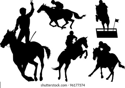 jumps; a collection of silhouettes of riders; illustration;