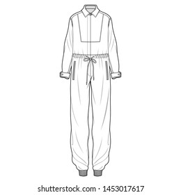 Jumpsuit fashion flat sketch template
