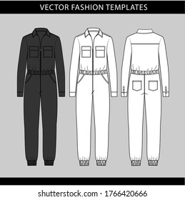 jumpsuit  fashion flat sketch template,Front and back view of a jumpsuit