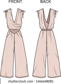 Jumpsuit fashion vector illustration flat sketches template