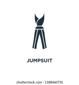 Jumpsuit icon. Black filled vector illustration. Jumpsuit symbol on white background. Can be used in web and mobile.