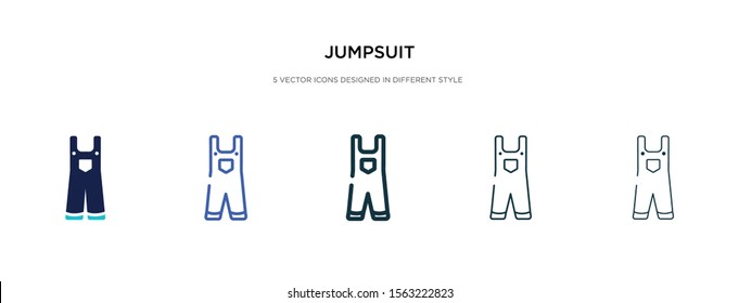 jumpsuit icon in different style vector illustration. two colored and black jumpsuit vector icons designed in filled, outline, line and stroke style can be used for web, mobile, ui