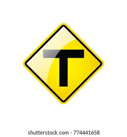 Junction Ahead Symbol icon on white background, Attracting attention,Compulsory, Control ,practice, Security first sign, Idea for graphic,web design,EPS10.