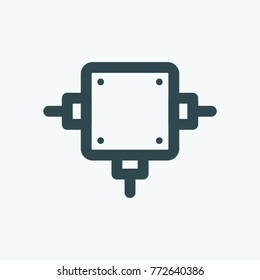 Junction box isolated icon, electrical junction box linear vector icon