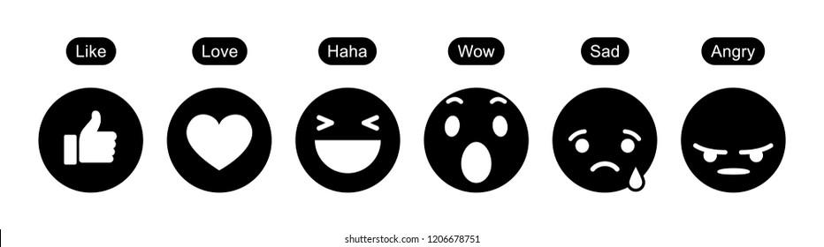 June 01, 2018: Set of Facebook Empathetic Emoji Reactions. Black icons. Flat Design Style, Social Media Reactions. Vector illustration.