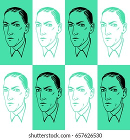 June 10, 2017: Howard Phillips Lovecraft portrait seamless vector pattern. Horror fiction book ink drawn  illustration, endless texture with geometrical background.