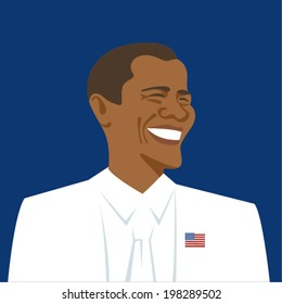 June 12, 2014: A vector illustration of a portrait of the President of the United States Barack Obama on a dark blue background