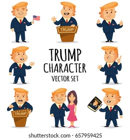 June, 12, 2017. Donald Trump. Vector cartoons character set of the USA President in various poses.