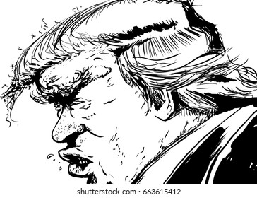 June 12, 2017. Outlined cartoon caricature of Donald Trump with angry expression