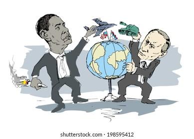 June 14, 2014: A vector illustration of a portrait of President Obama and Vladimir Putin