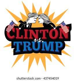 JUNE 15, 2016: Illustrative editorial cartoon of Democratic candidate Hillary Clinton and Republican Donald Trump fighting for the presidency. EPS 10 vector.