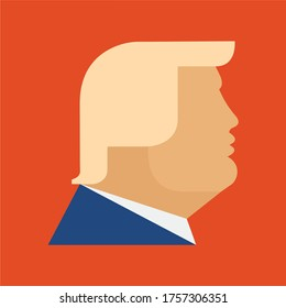 June 15, 2020: Donald Trump President of the United States, portrait orange face hair clip art icon, isolated, red background, Republican candidate political, businessman, government election vector.
