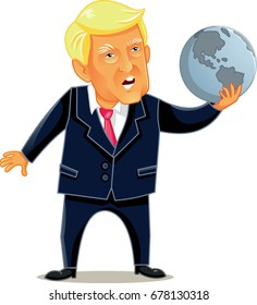 June 16 2017, Donald Trump Vector Caricature - Cartoon Illustration of the American President holding world globe in power metaphor concept image