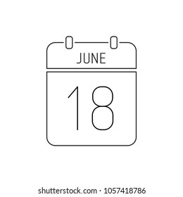 June 18. Special date of the calendar. Thin line icon. Deadline. Holiday