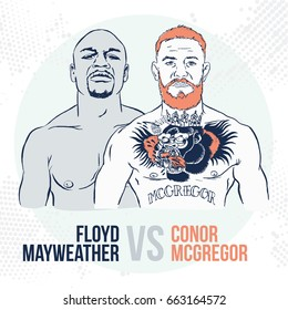 June, 19 2017: Vector illustration of famous boxing fighters and MMA Conor McGregor and Floyd Mayweather. Boxing match. Las Vegas, The battle of the century
