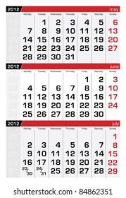 June 2012 Three-Month Calendar