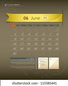 June 2013 calendar ribbon design, vector illustration