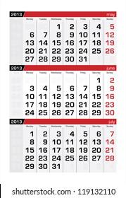 June 2013 Three-Month Calendar