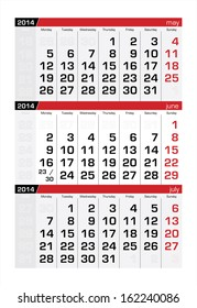 June 2014 Three-Month Calendar