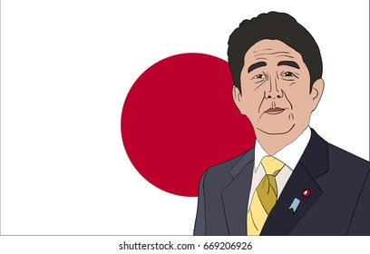 June, 2017: Editorial vector illustration of the Prime Minister of Japan Shinzo Abe  on Japanese flag background.
