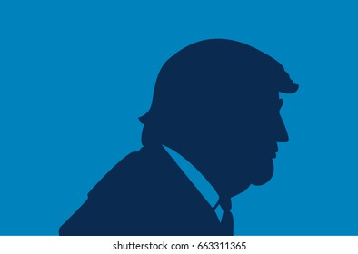 June, 2017: President of the United States Donald Trump portrait. Trump silhouette on a blue background