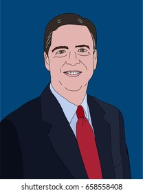 June 2017, USA: Former FBI Director James Comey vector portrait