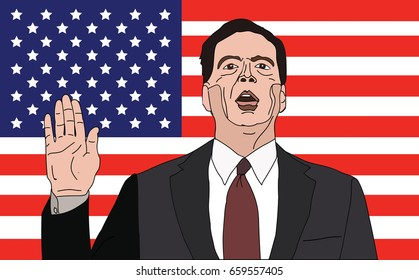 June 2017, USA: Former FBI Director James Comey vector portrait with right hand up.