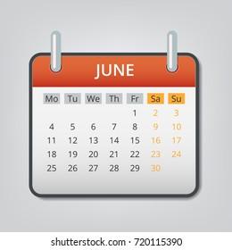 June 2018 calendar concept background. Cartoon illustration of june 2018 calendar vector concept background for web design