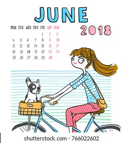 June. 2018 calendar. Cute girl with dog. Can be used like greeting cards.