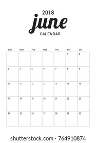 June 2018 calendar planner vector illustration, simple and clean design.