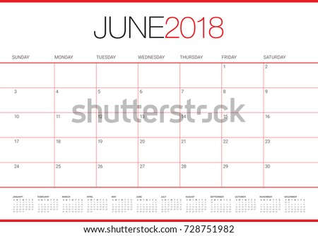 june 2018 calendar planner vector illustration simple and clean design