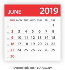 June 2019 Calendar Leaf - Illustration. Vector graphic page