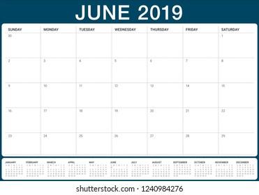 June 2019 desk calendar vector illustration, simple and clean design.