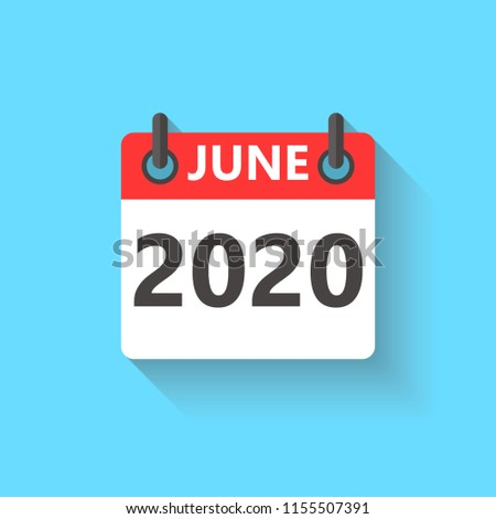 June 2020 Calendar Flat Style Icon Stock Vector Royalty Free