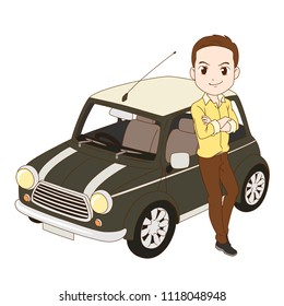 June 22, 2018: Cartoon illustration of a man leaning on a Mini Cooper car. Vector editorial.