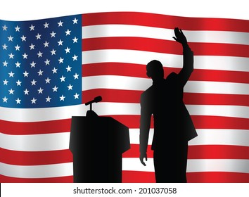 JUNE 26, 2014: A vector illustration of a silhouette portrait of President Obama on an American flag background.