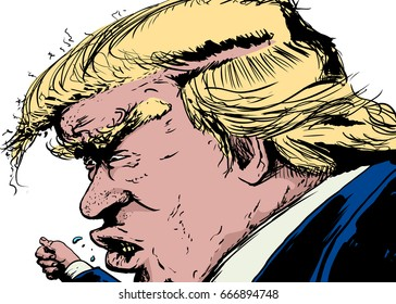 June 26, 2017. Side view vector cartoon caricature of Donald Trump with angry expression and hand gesture.