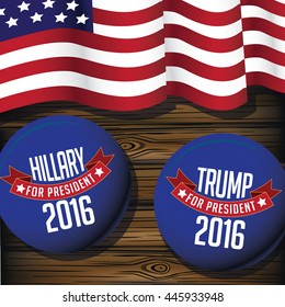 JUNE 30, 2016: Illustrative editorial drawing of American flag and Hillary and Trump buttons on wood background. EPS 10 vector.