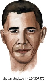June 4, 2015: A watercolour illustration of a portrait of President Obama on a white background, scalable vector graphic
