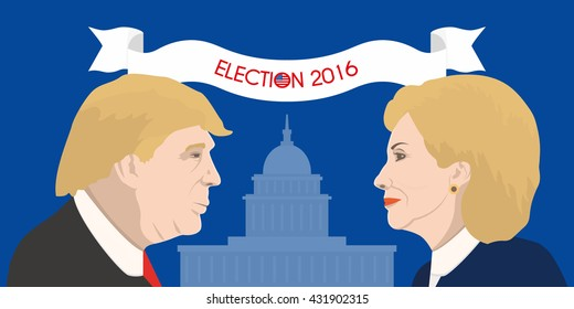 June 5, 2016: A vector illustration shows Democrat presidential candidate and US Secretary of State Hillary Clinton and the USA President Donald Trump on United States Capitol background