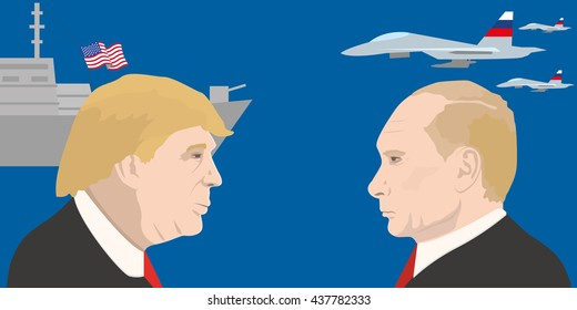 June 5, 2016: A vector illustration shows the USA president Donald Trump and Vladimir Putin. What will be the relationship between the US and Russia after the election of Donald Trump for president?