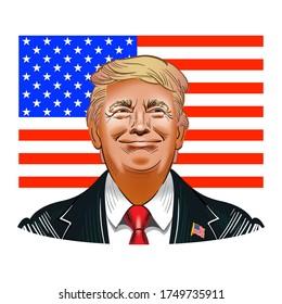June 5, 2020: Vector illustration of Donald Trump, US President