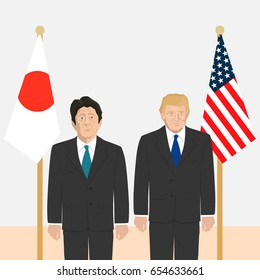 June 6, 2017: editorial vector illustration of the Prime Minister of Japan Shinzo Abe and the USA President Donald Trump on flags background.