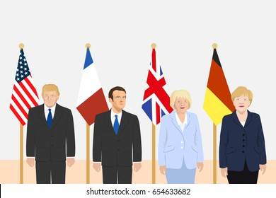 June 6, 2017: editorial vector illustration of the President of France Emmanuel Macron, the USA President Donald Trump, the Prime Minister of the UK Theresa May and the Chancellor of Germany Merkel.