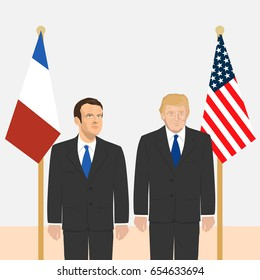 June 6, 2017: editorial vector illustration of the President of France Emmanuel Macron and the USA President Donald Trump on countries' flags background.