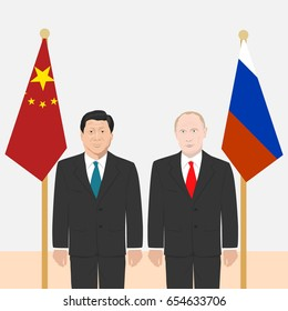 June 6, 2017: editorial vector illustration of the President of People's Republic of China Xi Jinping and the Russian Federation President Vladimir Putin  on flags background.